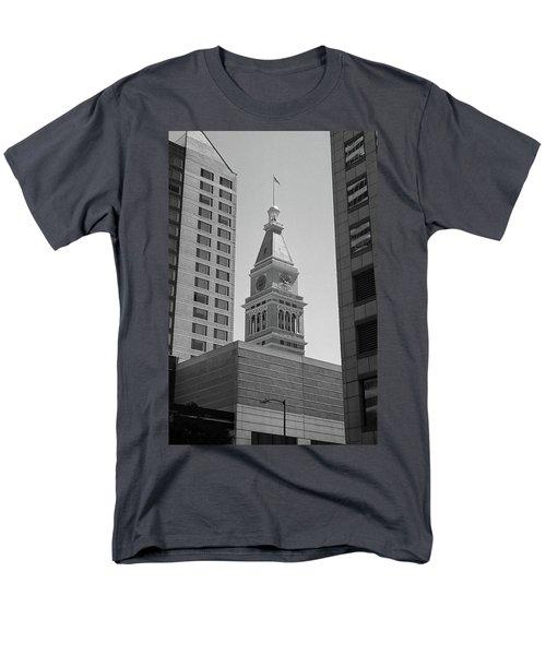 Denver - Historic D And F Clocktower 2 Bw Men's T-Shirt  (Regular Fit) by Frank Romeo