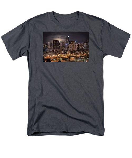 Denver Skyline At Night Men's T-Shirt  (Regular Fit) by Juli Scalzi