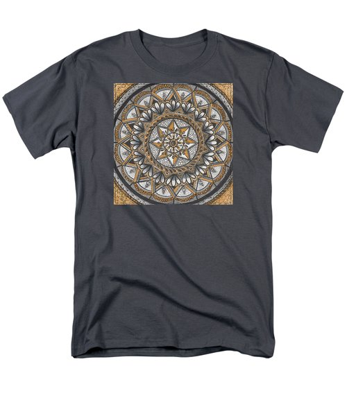 Des Tapestry In Gold-grey-black Men's T-Shirt  (Regular Fit) by Kathy Sheeran