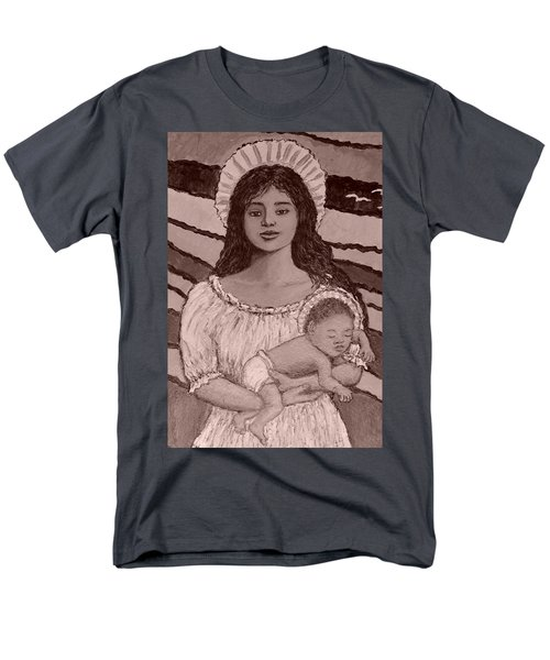 Detail Crop In Sepia Of Madonna Of The Promised Land Men's T-Shirt  (Regular Fit) by Kathleen McDermott