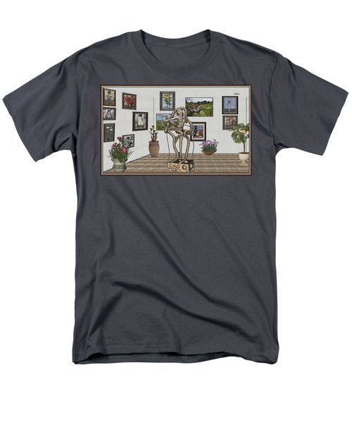 Men's T-Shirt  (Regular Fit) featuring the mixed media Digital Exhibition _ Modern  Statue 1   Of Dancing Girl by Pemaro