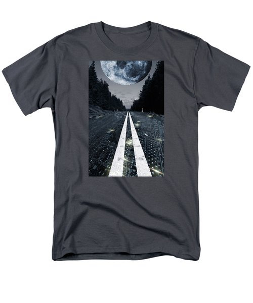 Digital Highway And A Full Moon Men's T-Shirt  (Regular Fit) by Christian Lagereek