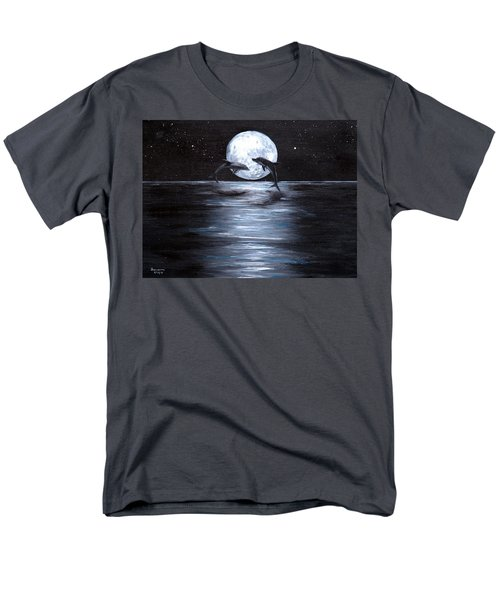 Dolphins Dancing Full Moon Men's T-Shirt  (Regular Fit) by Bernadette Krupa