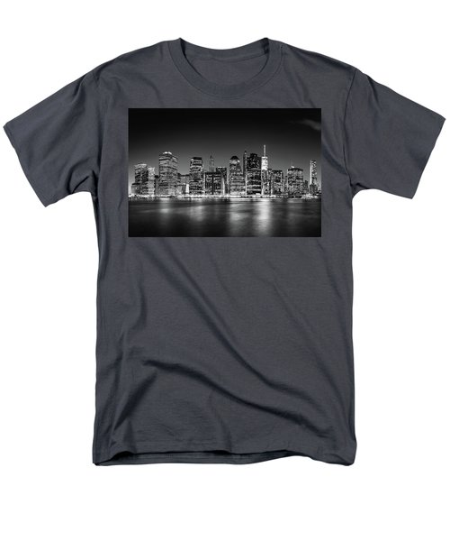 Men's T-Shirt  (Regular Fit) featuring the photograph Downtown Manhattan Bw by Az Jackson