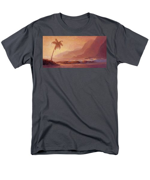 Men's T-Shirt  (Regular Fit) featuring the painting Dreams Of Hawaii - Tropical Beach Sunset Paradise Landscape Painting by Karen Whitworth