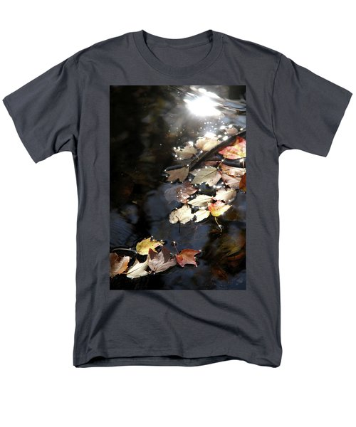 Men's T-Shirt  (Regular Fit) featuring the photograph Dry Leaves Floating On The Surface Of A Stream by Emanuel Tanjala