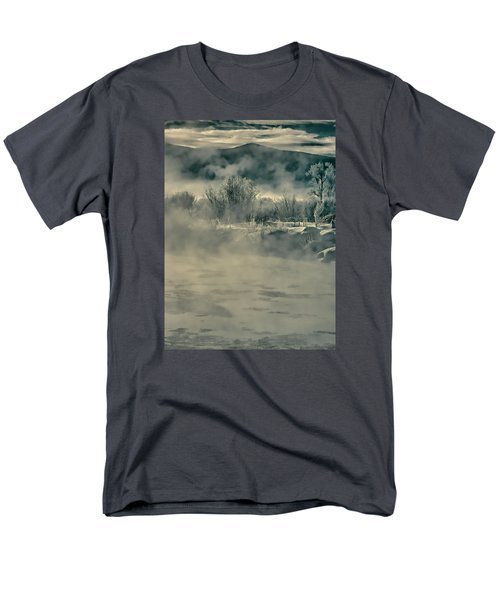 Men's T-Shirt  (Regular Fit) featuring the photograph Early Morning Frost On The River by Don Schwartz