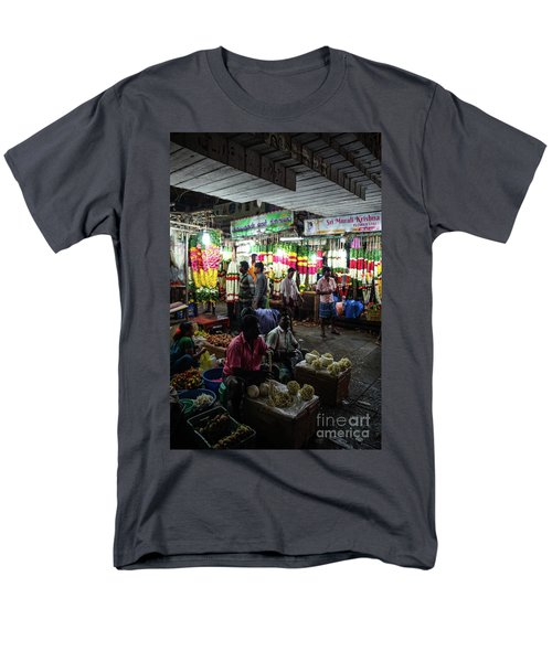 Men's T-Shirt  (Regular Fit) featuring the photograph Early Morning Koyambedu Flower Market India by Mike Reid