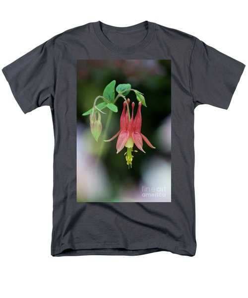 Men's T-Shirt  (Regular Fit) featuring the photograph Eastern Red Columbine - D010104 by Daniel Dempster