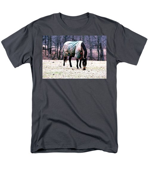 Men's T-Shirt  (Regular Fit) featuring the photograph Eatin' Snowy Grass by Polly Peacock