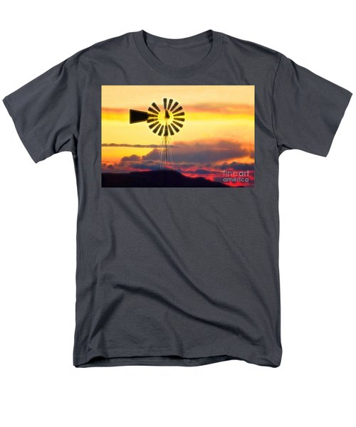 Eclipse Windmill In The Sunset Clouds Men's T-Shirt  (Regular Fit) by Wernher Krutein
