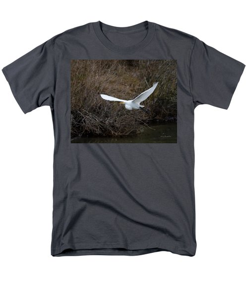 Men's T-Shirt  (Regular Fit) featuring the photograph Egret In Flight by George Randy Bass