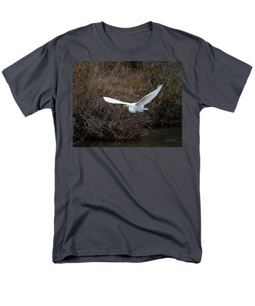 Egret In Flight Men's T-Shirt  (Regular Fit) by George Randy Bass