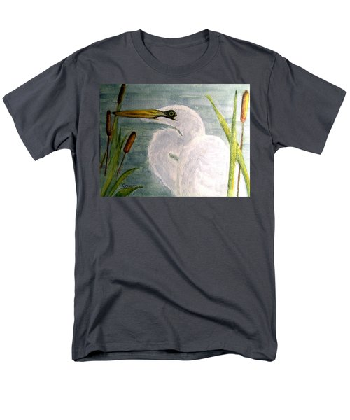 Egret In The Cattails Men's T-Shirt  (Regular Fit) by Carol Grimes