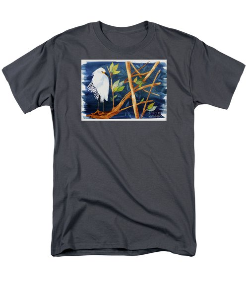 Egret In The Mangroves  Men's T-Shirt  (Regular Fit) by Terri Mills