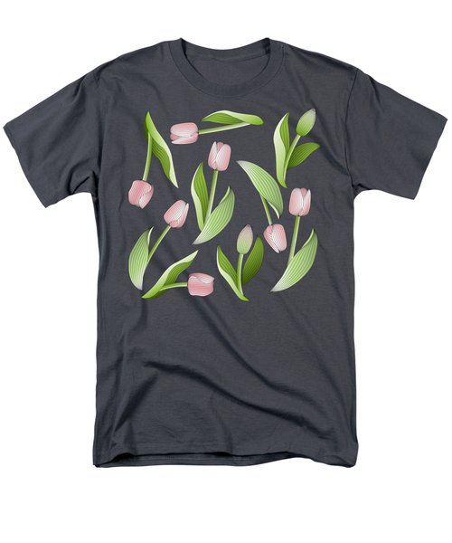 Elegant Chic Pink Tulip Floral Patten Men's T-Shirt  (Regular Fit) by Wind-Up Sprout Design