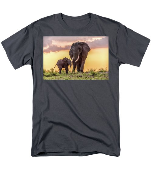 Men's T-Shirt  (Regular Fit) featuring the photograph Elephants At Sunset by Janis Knight