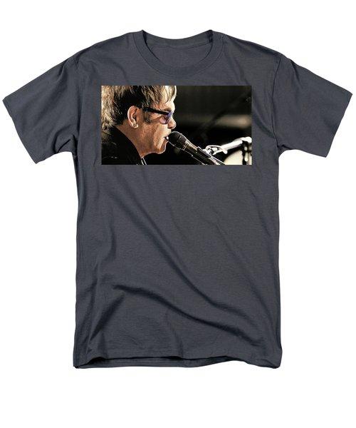 Elton John At The Mic Men's T-Shirt  (Regular Fit) by Elaine Plesser