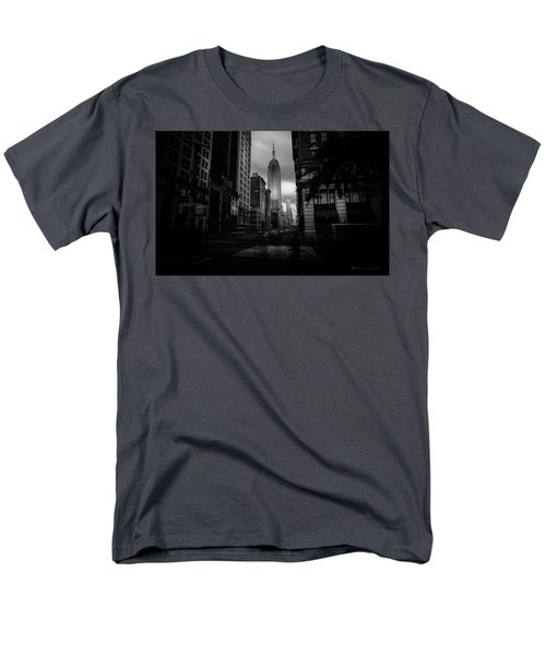 Men's T-Shirt  (Regular Fit) featuring the photograph Empire State Building Bw by Marvin Spates