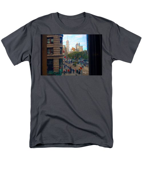 Men's T-Shirt  (Regular Fit) featuring the photograph Empire State Building - Crackled View 2 by Madeline Ellis