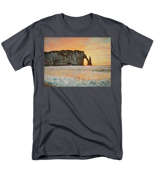 Etretat, Sunset  Men's T-Shirt  (Regular Fit) by Pierre Van Dijk
