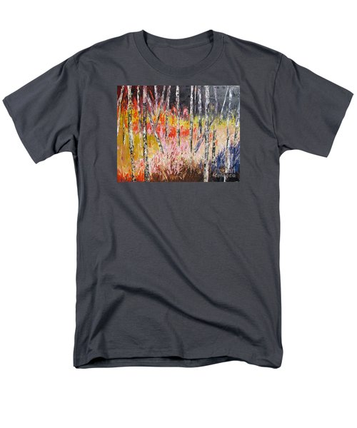 Evening In The Woods Pallet Knife Painting Men's T-Shirt  (Regular Fit) by Lisa Boyd