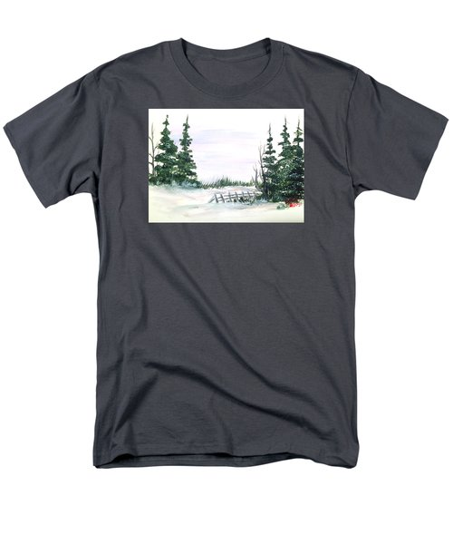 Men's T-Shirt  (Regular Fit) featuring the painting Evergreens In Snow by Dorothy Maier