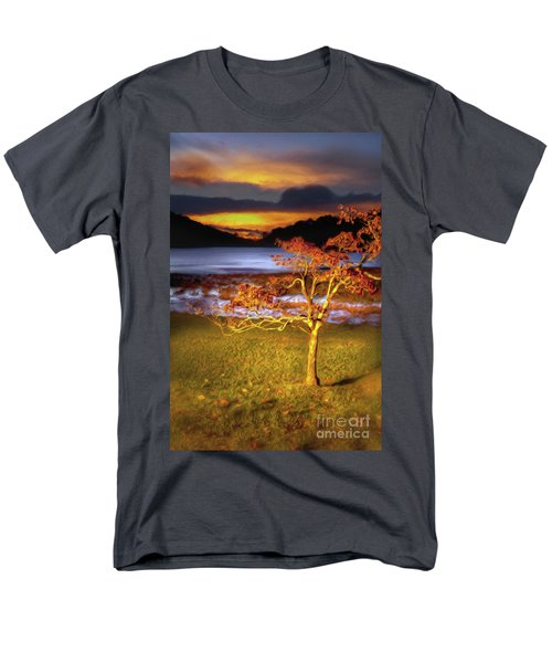 Men's T-Shirt  (Regular Fit) featuring the painting Fall Colors At Sunrise In Otter Blue Ridge Ap by Dan Carmichael