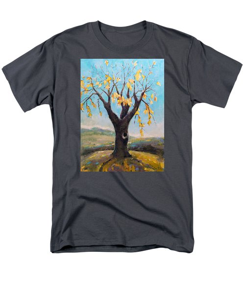 Men's T-Shirt  (Regular Fit) featuring the painting Fall Tree In Virginia by Becky Kim