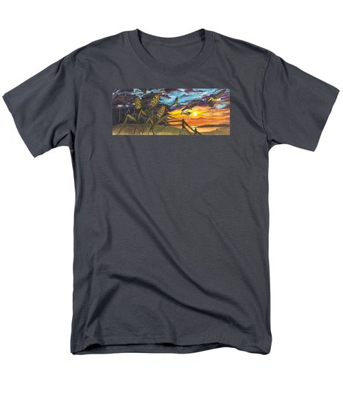 Men's T-Shirt  (Regular Fit) featuring the painting Farm Sunset by Darren Cannell