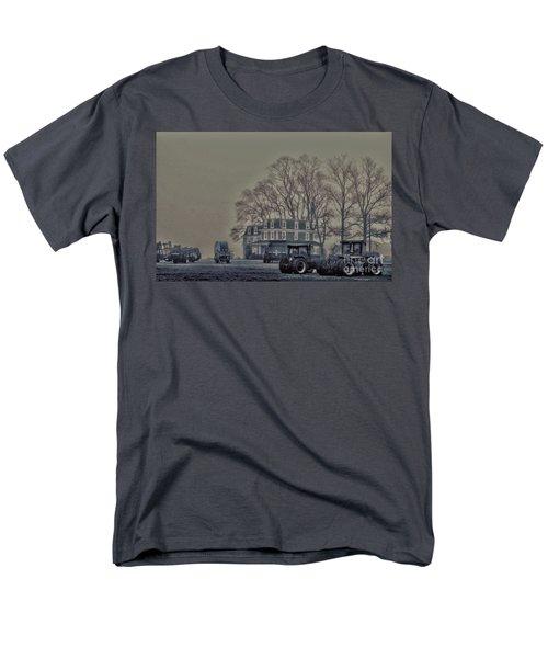 Farmhouse In Morning Fog Men's T-Shirt  (Regular Fit) by Sandy Moulder