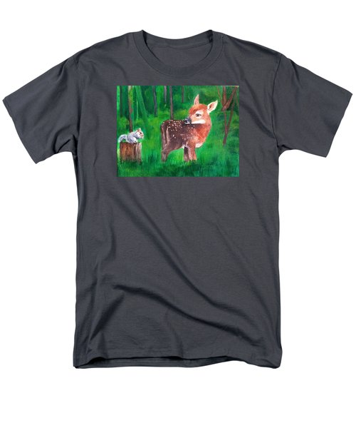 Fawn With Squirrel Men's T-Shirt  (Regular Fit) by Ellen Canfield