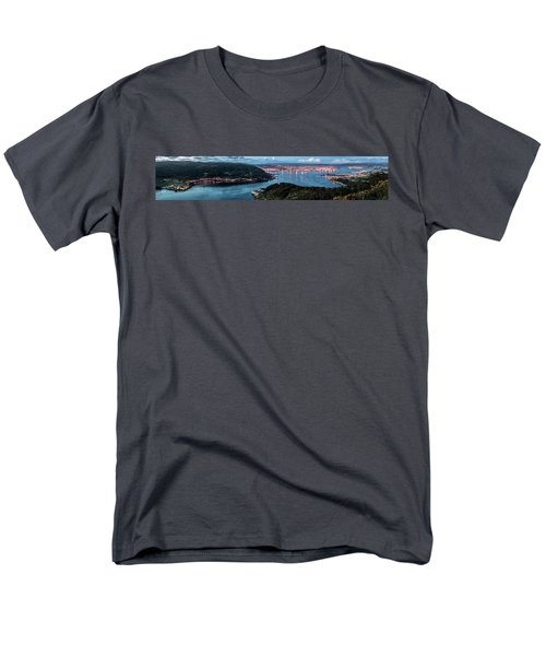 Ferrol's Estuary Panorama From La Bailadora Galicia Spain Men's T-Shirt  (Regular Fit) by Pablo Avanzini