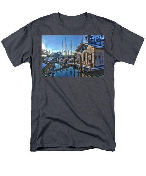 Ferry Harbour In Winter Men's T-Shirt  (Regular Fit) by Frans Blok