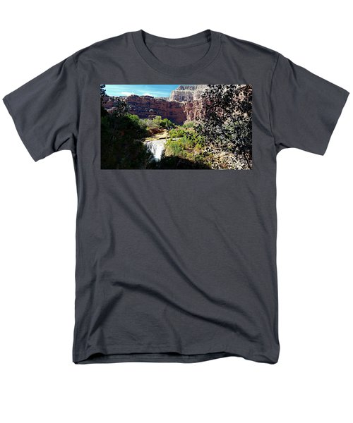 Men's T-Shirt  (Regular Fit) featuring the photograph Fifty Falls And Havasupai Falls Havasupai Indian Reservation by Joseph Hendrix