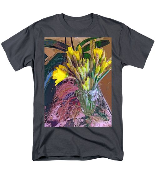 Men's T-Shirt  (Regular Fit) featuring the digital art First Daffodils by Alexis Rotella