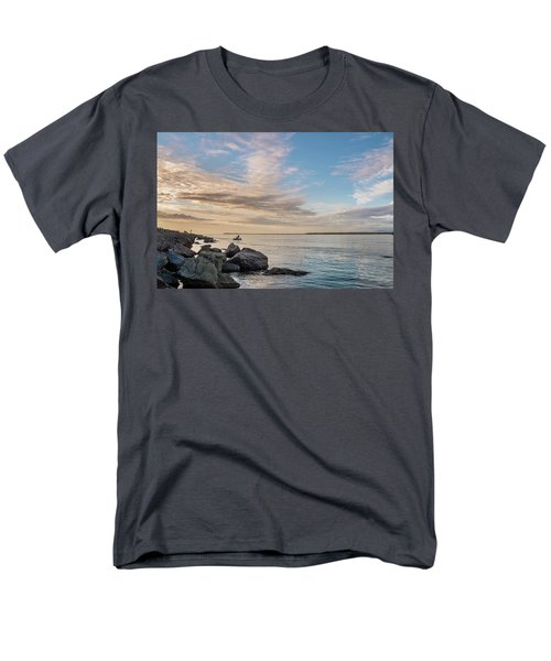 Fishing Along The South Jetty Men's T-Shirt  (Regular Fit) by Greg Nyquist