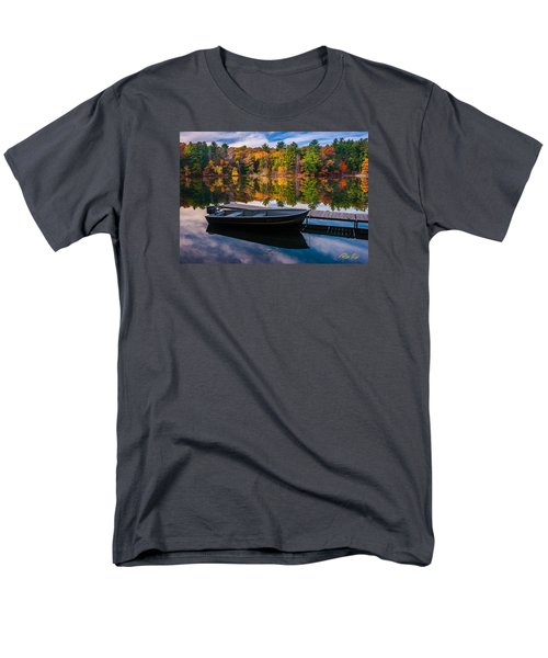 Men's T-Shirt  (Regular Fit) featuring the photograph Fishing Boat On Mirror Lake by Rikk Flohr