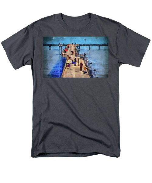 Fishing Off Galvaston Pier Men's T-Shirt  (Regular Fit) by Cedric Hampton