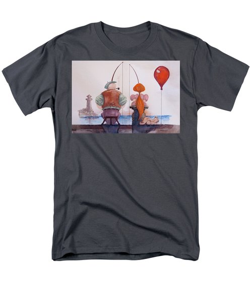 Men's T-Shirt  (Regular Fit) featuring the painting Fishing With Grandpa by Geni Gorani