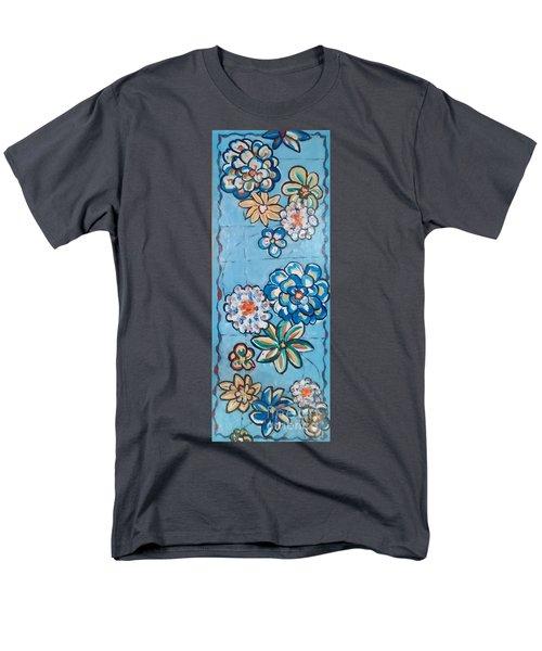 Floor Cloth Blue Flowers Men's T-Shirt  (Regular Fit) by Judith Espinoza