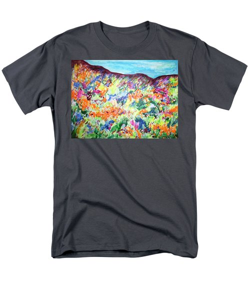 Men's T-Shirt  (Regular Fit) featuring the painting Flowering Hills by Esther Newman-Cohen