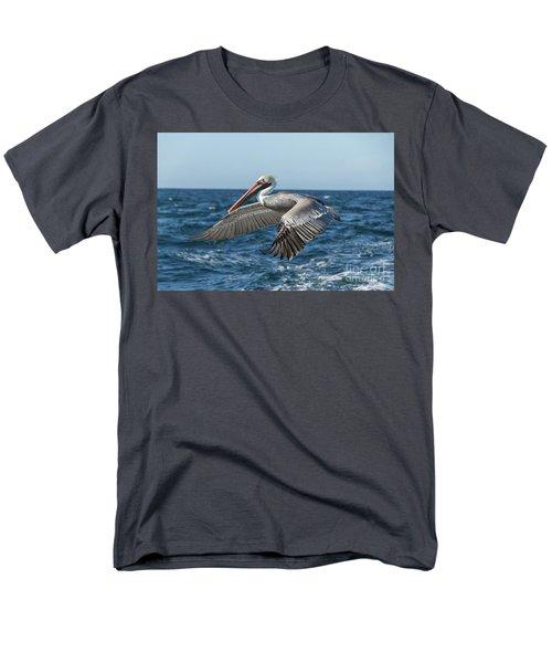 Flying Brown Pelican Men's T-Shirt  (Regular Fit) by Robert Bales
