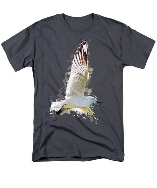 Flying Seagull Abstract Sky Men's T-Shirt  (Regular Fit) by Elaine Plesser