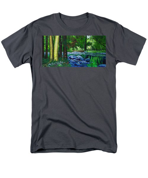 Men's T-Shirt  (Regular Fit) featuring the painting Forest Stream by Michael Frank