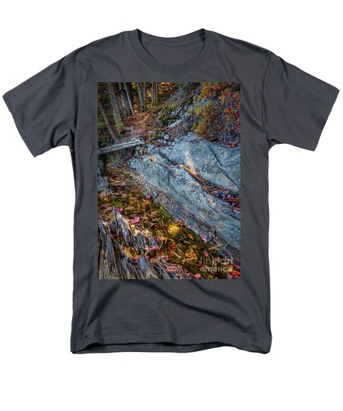 Men's T-Shirt  (Regular Fit) featuring the photograph Forest Tidal Pool In Granite, Harpswell, Maine  -100436-100438 by John Bald
