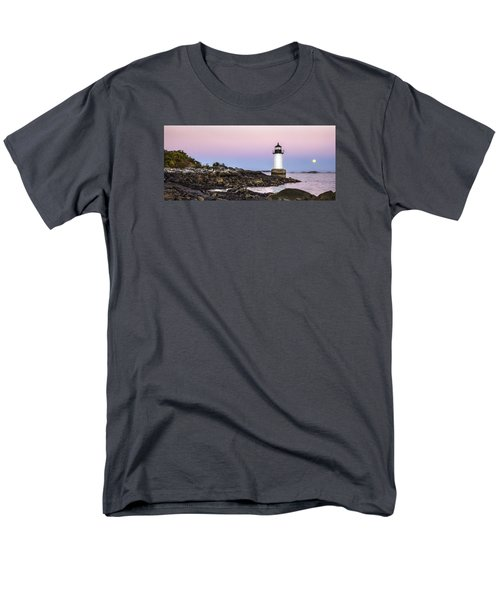 Men's T-Shirt  (Regular Fit) featuring the photograph Fort Pickering Lighthouse, Harvest Supermoon, Salem, Ma by Betty Denise