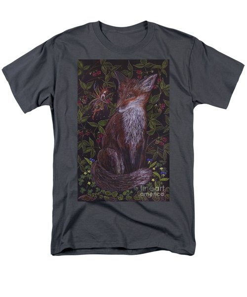 Men's T-Shirt  (Regular Fit) featuring the drawing Fox In The Berry Bushes by Dawn Fairies