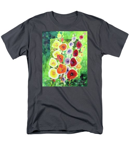 Men's T-Shirt  (Regular Fit) featuring the painting Framed In Hollyhocks by Kathy Braud