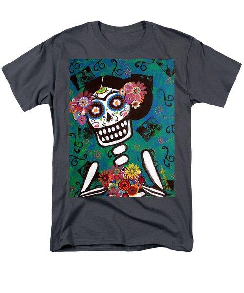 Men's T-Shirt  (Regular Fit) featuring the painting Frida Dia De Los Muertos by Pristine Cartera Turkus
